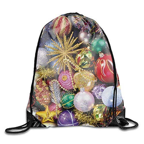 ucksäcke, Holiday Christmas Ornaments Colors Drawstring Bag Multifunction Backpack School Shoulder Bag Holiday Christmas Ornaments Colors6 Lightweight Unique 17x14 IN ()