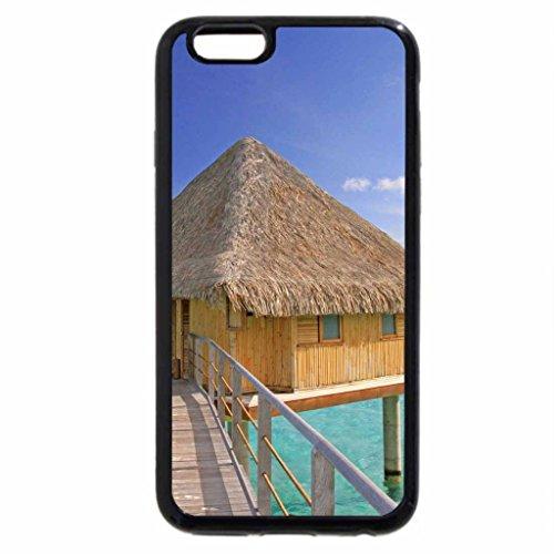 iPhone 3S/iPhone 6Coque (Noir) Idéal pour l'eau Villa Bungalow sur l'océan bleu lagon transparent Bora Bora Paradise Island Tahiti