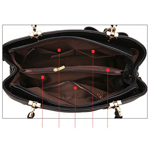 Lady Fashion Rose Imbottitura Borsa Donne PU Borsa Satchel Tote Shoulder Bag Multicolor Red