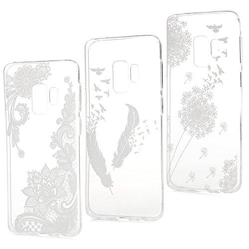 BADALink Hülle für Samsung Galaxy S9 3 Stück TPU Case Cover Ultraslim Handyhülle Schutzhülle Silikon Bumper Schutz Tasche Schale Transparent Antikratz Backcover,Löwenzahn