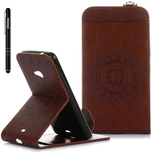 Slynmax Lumia 535 Hülle Braun, Mandala Flip Hülle Schutzhülle für Microsoft Lumia 535 Tasche Wallet Case Slim Leder Klapphülle Brieftasche Lederhülle Handyhülle Ständer Kartenfächer Magnetverschluss