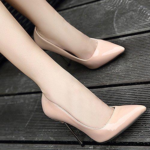 Oasap Women's Classic Pointed Toe Stiletto Heels Slip-on Pumps Black