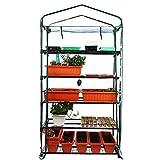 Worth Garden Serre-tomates de 5 rangées de Largeur, 102 cm de Large, avec Couverture de bâche en PVC Transparente et Fermeture à glissière, Protection de Culture en Hauteur