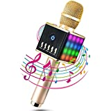 Moda Micrófono Inalámbrico Portátil Bluetooth 4.1 2 Altavoces Incorporados con LED Luces de Colores para Karaoke TF Tarjeta hasta 16GB 3.5mm AUX Batería de 2000mAh Compatible con PC/ iPad/ iPhone/ Smartphone, Color Dorado