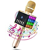 MODA Multi-Fonction Microphone Sans Fil Karaoké Portable Bluetooth 4.1, LED Lampe Coloré Dynamique, 2 Haut-Parleur Intégré, Support TF Carte, Compatible avec Apple/ iPhone/ Android/ Smartphone/ PC/ iPad, Idéal pour KTV Bar Party Voyage Camping - Or