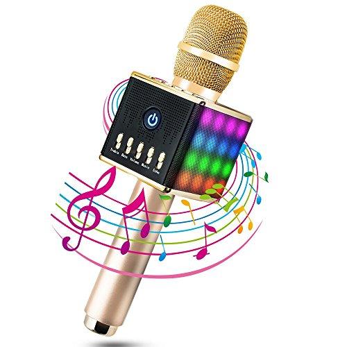 Moda Micrófono Inalámbrico Portátil Bluetooth 4.1 2 Altavoces Incorporados con LED Luces de Colores para Karaoke TF Tarjeta hasta 16GB 3.5mm AUX Batería de 2000mAh Compatible con PC/ iPad/ iPhone/ Smartphone, Color Dorado