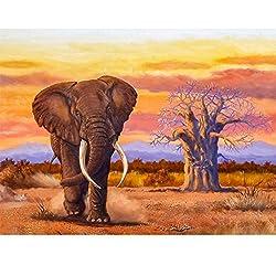 Gemälde mit Elefanten Motiv, 5D Diamanten Malerei Malen nach Zahlen, komplettes Bohren, Diamant-Strass-Stickerei, Kreuzstich-Kits für Kunst und Handwerk auf Leinwand, Wanddekoration, 40 x 30 cm