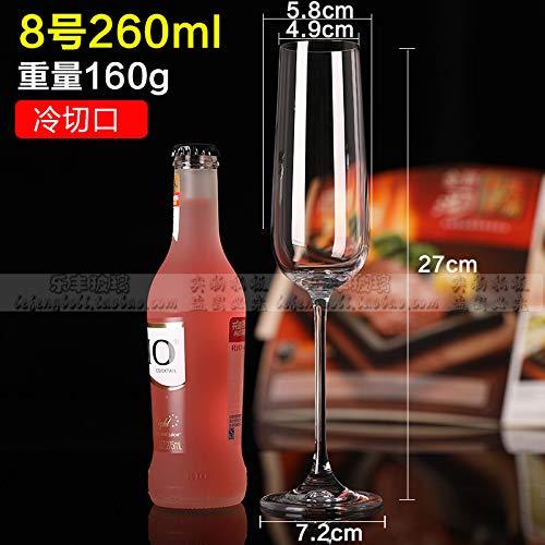 Luxury glass Sechs Kristall-Champagnergläser, Hohe Gläser, Rotweingläser, Kreative Cocktailgläser, Wein-Boudoir-Gläser, Bubble-Gläser Für Den Hausgebrauch, Champagnerbecher Nr. 8 260Ml -