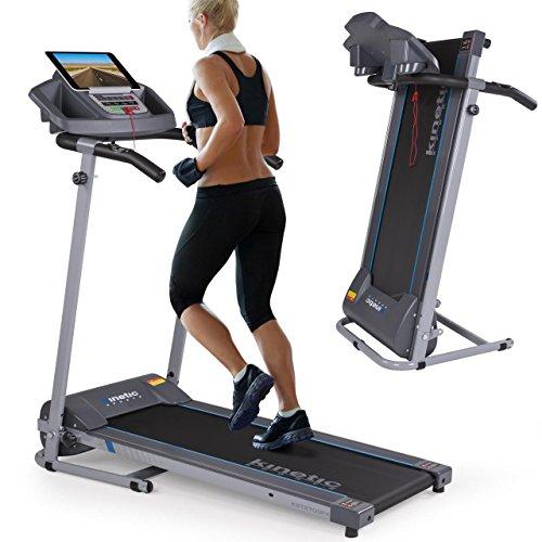 Kinetic Sports Laufband 500 Watt leiser Elektromotor 12 Pogramme, Geh- und Lauftraining, Tablethalterung, stufenlos einstellbar bis 10 km/h, klappbar