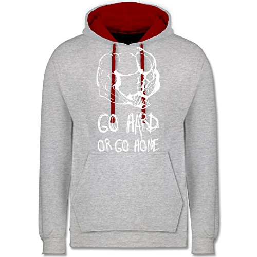 CrossFit & Workout - Go hard or go home - Kontrast Hoodie Grau Meliert/Rot