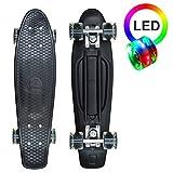 Apollo LED Fancy Skateboard, Vintage Mini Cruiser, Komplettboard, 22.5inch (57,15 cm), Mini-Board mit Kunstsoff Deck und LED Wheels