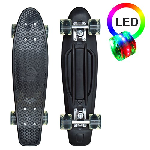 Apollo LED Fancy Skateboard, Vintage Mini Cruiser, Komplettboard, 22.5inch (57,15 cm), Mini-Board mit Kunstsoff Deck und LED Wheels