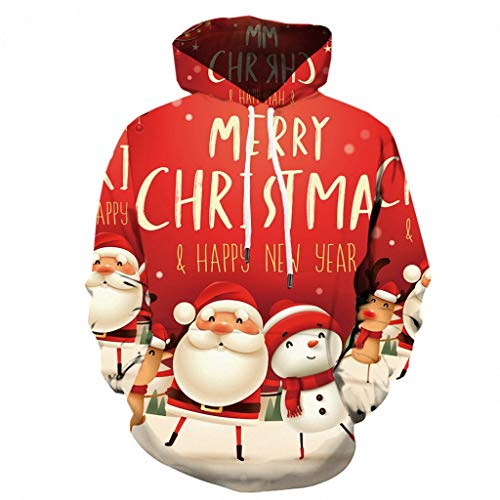 ZEELIY Hot Christmas Hoodie Men Funny 3D Print Party Long Sleeve Top Blouse Coat