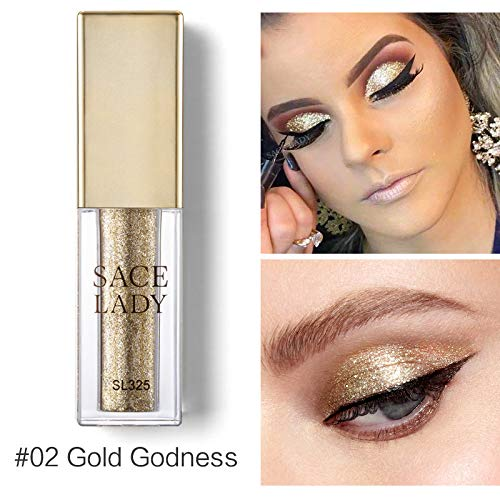 SACE LADY Liquid Lidschatten Metall Glitter Shadow Lidschatten Leucht Make Up Glow Augen Make-Up - Mineral Glow Perlen