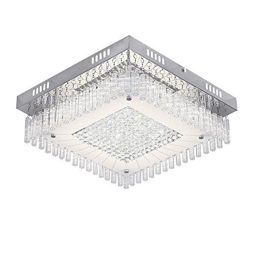 soggiorno per corridoio Plafoniera LED da soffitto con cristalli pendenti,corpo metallo e vetro e cristallo camera da letto e sala da pranzo bianche caldo 4000K piastre LED 12W