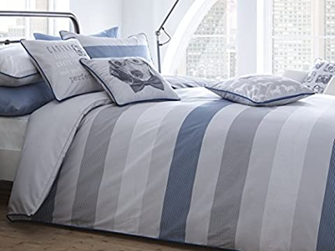 Racing Green 'Romney' 100% Cotton Yarn Dyed Horizontal Striped Face, 100% Cotton Plain Printed Reverse in Shades of Grey with Contrast Piping Duvet Cover Set, Double,