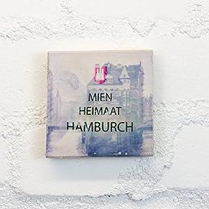 Hamburg auf Holz - MIEN HEIMAAT HAMBURCH 1 Wasserschloss - 10x10 cm - Holzbild, Wandbild, Landhausstil, Shabby Chic, Vintage, Bilder, Motive, Hamburg, Geschenkidee, Souvenir, Deko