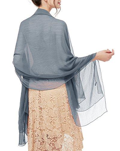 bridesmay Damen Strand Scarves Sonnenschutz Schal Sommer Tuch Stola für Kleider in 29 Farben Smoke Grey