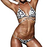 OVERDOSE Damen Padded Push-Up-BH Bikini Sets Badeanzug Frauen Bademode Beachwear(A-Brown,L)