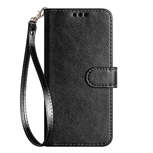 iPod Touch Case 7th Generation 2019 5./6th for iPod 5/6/7 with Screen Protector Leather Bling Glitter Wallet Flip Stand Card Holder Slot for Men Boys Girls/Women, Black(Pure) (Screen Cover Für Ipod Touch)