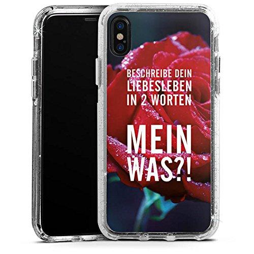 Apple iPhone 6 Bumper Hülle Bumper Case Glitzer Hülle Liebe Love Amour Bumper Case Glitzer silber