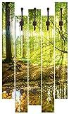 Artland Qualitätsmöbel I Garderobe mit Motiv 5 Holz-Paneele mit Haken 68 x 114 cm Landschaften Wald Foto Braun F1YL Wald mit Bach