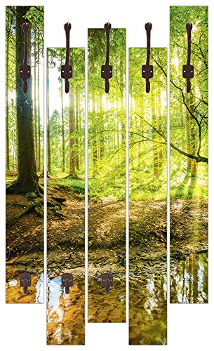 Artland Qualitätsmöbel I Garderobe mit Motiv 5 Holz-Paneele mit Haken 63x114 cm Wald mit Bach Grün H8HN