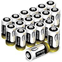 Keenstone Batteria CR123A 18pcs 1600mAh CR123A Batteria al Litio Non Ricaricabili per Flashlight, Fotocamera Digitale, Videocamera, Giocattoli, Macchina Fotografica, Torcia, Microfoni, ecc.