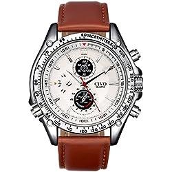 CIVO Mens White Decorative Sub Dials Brown Leather Band Wrist Watches Japan Movement Quartz Watch Classic Fashion Design Dress Casual Business Watches for Men