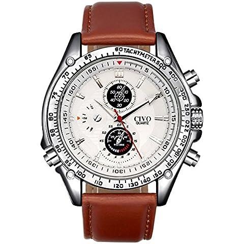 CIVO Reloj Analógico Hombres de Cuero Marrón de Cuarzo Japonés Business Casual Reloj de Pulsera Color Marrón