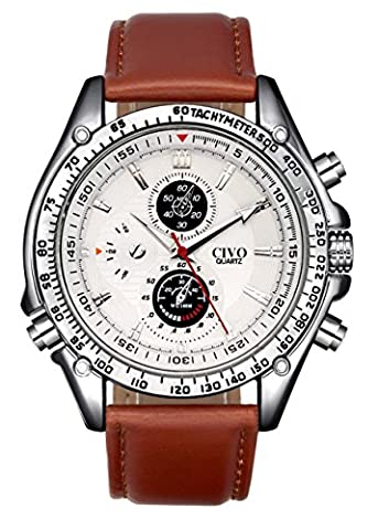 CIVO Herren Braun Lederband Japan Quarzwerk Uhren Minimalism Dekorative Zifferblätter Edle Klassisch Elegant Streamline Uhr Modisch Zeitloses Analog Edelstahl Gehäuse Armbanduhren