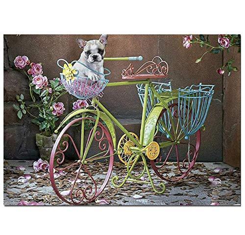 song710 Diamant Malerei Runde Diamant Stickerei Französisch Bulldog Malerei Puzzle Bikes, 5D Kunst, Voll, Strass, Mosaik Kunst 40X50CM - Französisch-kunst-malerei