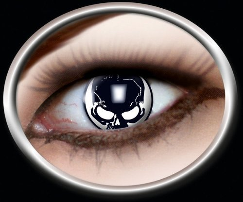 (Das Kostümland Kontaktlinsen Totenkopf Schädel 1 PAAR Halloween Karneval)