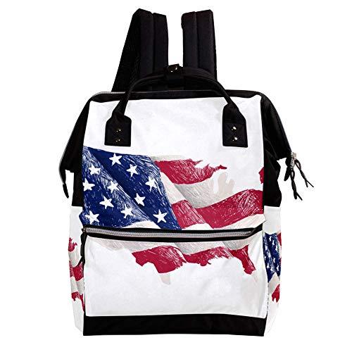 Karte Der Vereinigten Staaten Und Der Flagge Wickelrucksack Wickeltasche große Kapazität der Mehrfachtasche für Mutterschaftsbabywindeländerung Mama Multifunktionsreiserucksack,27x19.8x36.5cm -