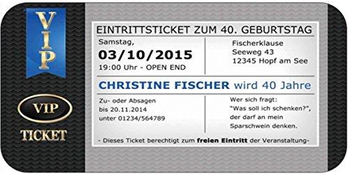 Einladungskarten VIP Ticket Einladung Jugendweihe Jubiläum runder Geburtstag 30 40 50 62 60 Geburtstagseinladung besonders ausgefallen edel elegant (Eleganter 50 Geburtstag Einladungen)