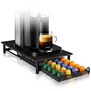 Nespresso Capsule Holder / Container and Coffee Machine Stand in Metallic Black – Strong Metal Drawer for 40 Pods