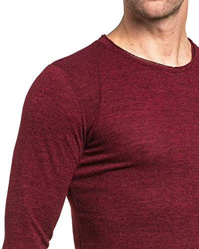 Celebry tees - Pull homme bordeau long col rond Rouge