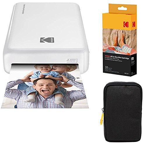 Kodak: Paquete básico de Impresora fotográfica instantánea Mini2 (Blanco) + Papel (20 Hojas) + Funda