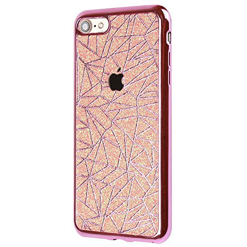 """Cover pour Apple iPhone 5G/5s/SE 4.0"""", CLTPY Jelly Gelée Bling Diamant Série avec Plaquage Protection de Bord Incurvée Résistant Aux Rayures Couverture Ajustement Parfait pour iPhone 5G,iPhone 5s,iPho Rose Gold"""