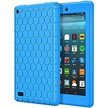 MoKo Funda Para Nuevo Amazon Fire 7 Tableta ( 7 pulgadas, 7ª generación, modelo de 2017) - LightWeight Cubierta ShockProof Cover Case Esquina Silicona Protector Parachoques para All-New Amazon Fire 7 Tablet, Azul