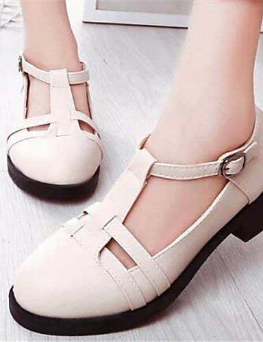 ZQ Scarpe Donna - Stringate - Casual - Punta arrotondata - Basso - Finta pelle - Nero / Bianco / Beige , white-us8 / eu39 / uk6 / cn39 , white-us8 / eu39 / uk6 / cn39 white-us6 / eu36 / uk4 / cn36