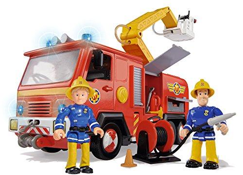 - 51WAE81T08L - Simba 109257661 – Feuerwehrmann Sam Jupiter Feuerwehrauto mit 2 Figuren, 28 cm