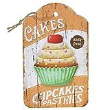Woodpassion Hängeschild Holzschild Cakes Cupcakes Küchenschild Küche Bild Backen Vintage 24x15cm Wandschild Patisserie Dekoschild Hänger MDF