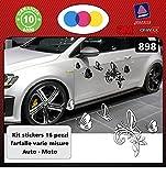 Sardegna Services Aufkleber Blumen für Auto - Sticker Auto - Zubehör Stickers Decal (Viola) Nr. 901