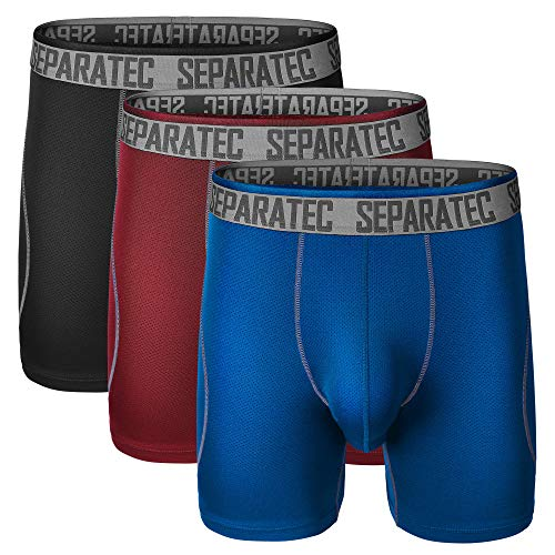 Separatec Herren Unterwäsche 3er-Pack Dual Pouch Sport Quick Dry Performance Boxer Slip - Mehrfarbig - Small -