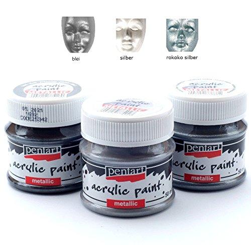 Acrylfarben Set Metallic 3x50ml - Set 2. Metallfarbe, Bastelfarbe, Acrylfarbe