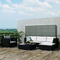 Tidyard Garden Lounge Set 17 Pieces Comfortable Sofa Garden Outdoor Furniture Poly Rattan Black