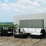 Tuduo Gartensofa-Garnitur 17-tlg. Garten Lounge Set Poly Rattan Gartengarnitur Schwarz