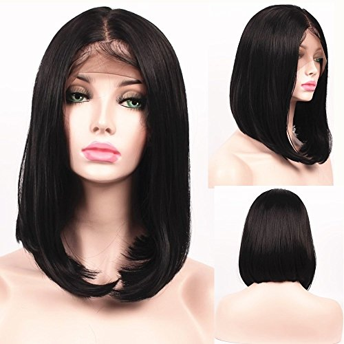 "SHANDIREN Outdoor Short Bob Straight 16"" Lace Front Wigs Shoulder Length Synthetic High Density Heat Resistant Fiber Wigs For Women ( Dark Brown )"