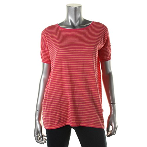 Calvin Klein Striped Boat-Neck Women's Knit Top Shirt Pink XS -